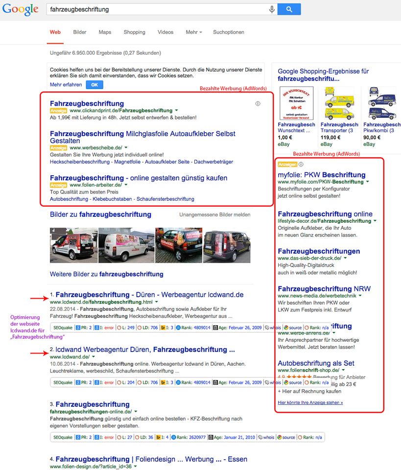 google Fahrzeugbeschriftung
